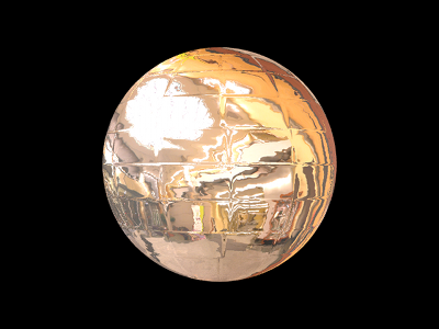 A reflective, environment mapped, normal mapped sphere.